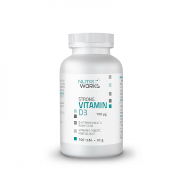 D-vitamiini 100 mcg, Nutri Works Strong Vitamin D3 100 tabl.