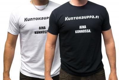 Kuntokauppa.fi T-Paita - Aina kunnossa, miesten malli, valkoinen/musta L