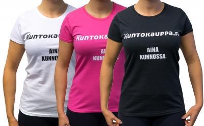 Kuntokauppa.fi T-Paita - Aina kunnossa, naisten malli, valkoinen/pinkki/musta S