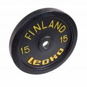 Painonnostolevy 15 kg, LEOKO musta harjoituspaino kumireunuksella