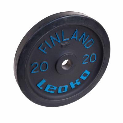 Painonnostolevy 20 kg, LEOKO musta harjoituspaino kumireunuksella
