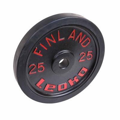 Painonnostolevy 25 kg, LEOKO musta harjoituspaino kumireunuksella